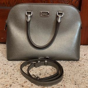 Michael Kors Cindy Large Dome Silver Satchel NWOT